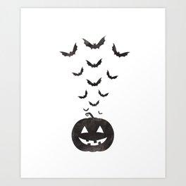 Halloween Flying Bat and Jack o Lantern Pumpkin Art Print