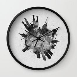 Barcelona, Spain Black and White Skyround / Skyline Watercolor Painting Wall Clock