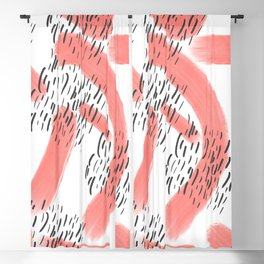 Abstract modern living coral black watercolor brushstrokes Blackout Curtain