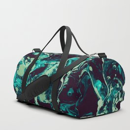 Neon cyan Glow splash on black Liquid paint art Duffle Bag