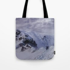 Hiking on top of The World Tote Bag
