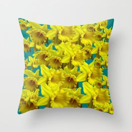 YELLOW SPRING DAFFODILS ON TEAL COLOR ART Throw Pillow