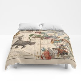 Pictorial Celestial Map with Constellations Ursa Major and Ursa Minor Comforters
