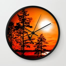 Sunset Long Beach Tofino Vancouver Island Canada Wall Clock