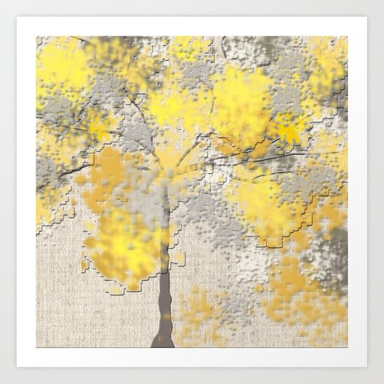 Abstract Yellow and Gray Trees by lena127