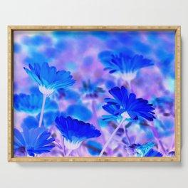 Blue Marigold Gypsy Boho Fantasy Garden Serving Tray