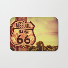 Historic route 66 highway sign. Bath Mat