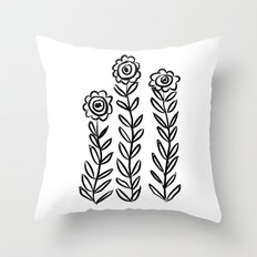 Flower Party in Black Throw Pillow