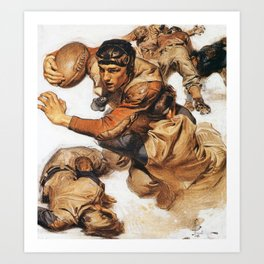Joseph Christian Leyendecker - Rugby Player, Tackle - Digital Remastered Edition Art Print