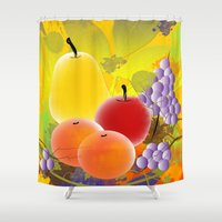 fruit Shower Curtains featuring Fruit by Ramon J Butler-Martinez