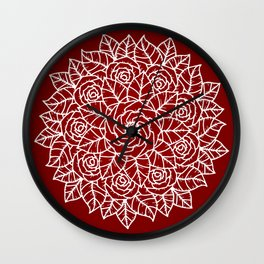 RED MANDALA Wall Clock