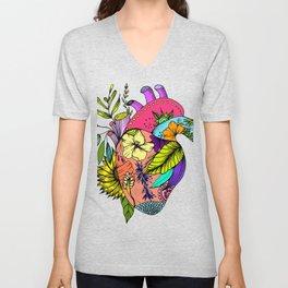 Corazón con flores Unisex V-Neck