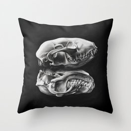 Raccoon Skull Study Throw Pillow
