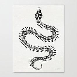 Snake Skeleton – Black Ink Canvas Print