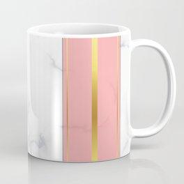 Luxury white marble gold & pink stripes Coffee Mug