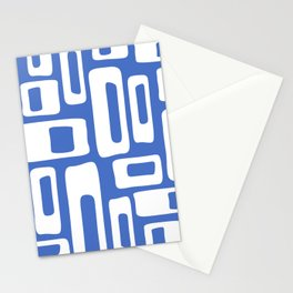 Retro Mid Century Modern Abstract Pattern 335 Blue Stationery Cards