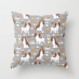 Cavalier King Charles Spaniel coffee lover custom pet portrait by pet friendly dog breeds Throw Pillow