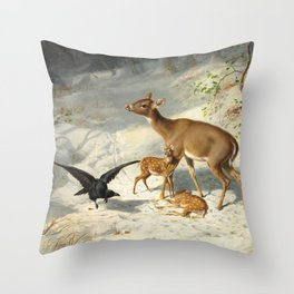 Maternal Solicitude by Arthur Fitzwilliam Tait, 1873 Throw Pillow