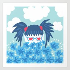 Geek Girl With Heart Shaped Eyes And Blue Flowers Art Print