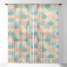 Patchwork Mermaid Scales Sheer Curtain