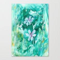 Green encaustic flowers Canvas Print
