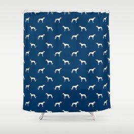 Greyhound blue and white minimal dog silhouette dog breed pattern Shower Curtain