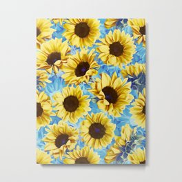 Dreamy Sunflowers on Blue Metal Print