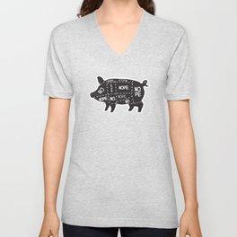 alternative pig meat cut chart vegan and vegetarian Unisex V-Neck