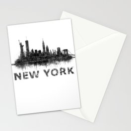 NY New York City Skyline NYC Black-White Watercolor art Stationery Cards