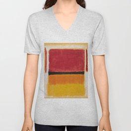 1949 Untitled (Violet, Black, Orange, Yellow on White and Red) by Mark Rothko Unisex V-Neck