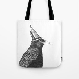 Willem Dacrowe Crow Wearing a Witch's Hat Tote Bag