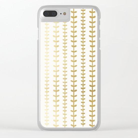 Minimalist gold vines pattern Clear iPhone Case
