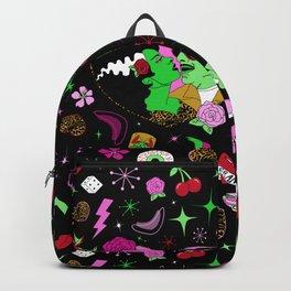 Rockabilly Monster Luau in Black + Pink Backpack