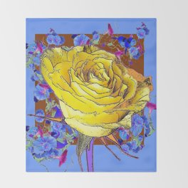 GRAPHIC YELLOW ROSE BLUE FLOWERS BROWN ART Throw Blanket