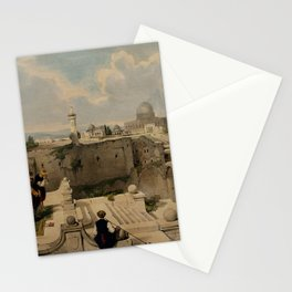 Vintage Print - The Holy Land, Vol 1 (1842) - Worshippers near the Mosque of Omar Stationery Cards