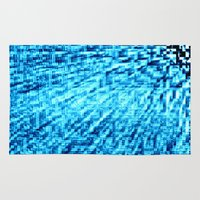 turquoise Area & Throw Rugs featuring TURquoise Pixel Wind by 2sweet4words Designs