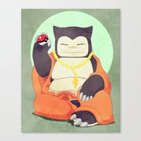 snorlax Canvas Prints featuring Relax with Snorlax by Lianne Booton