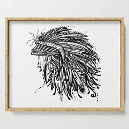 Native American Indian Headdress Warbonnet Black and White Serving Tray