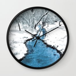 Overnight Snow in Edgemont Park Wall Clock