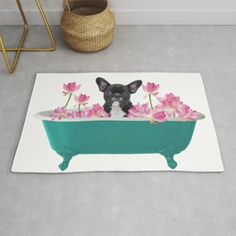 French Bulldog Frenchie - turquoise Bathtub - Lotos Flowers Rug