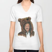 marc V-neck T-shirts featuring Bear Suit Marc by Kyle Miller