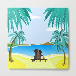 relaxing elephants by the beach Metal Print