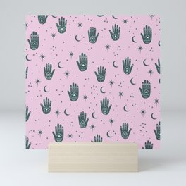 Magic Universe Moon phase and stars fortune telling hamsa pink Mini Art Print