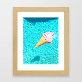 pink ice cream cone float all up in my pool yo Framed Art Print