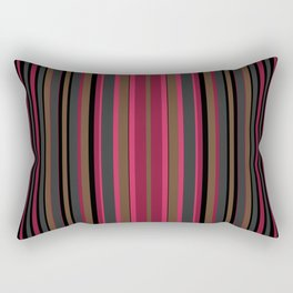 Multi-colored striped pattern in Magenta , black and brown tones . Rectangular Pillow