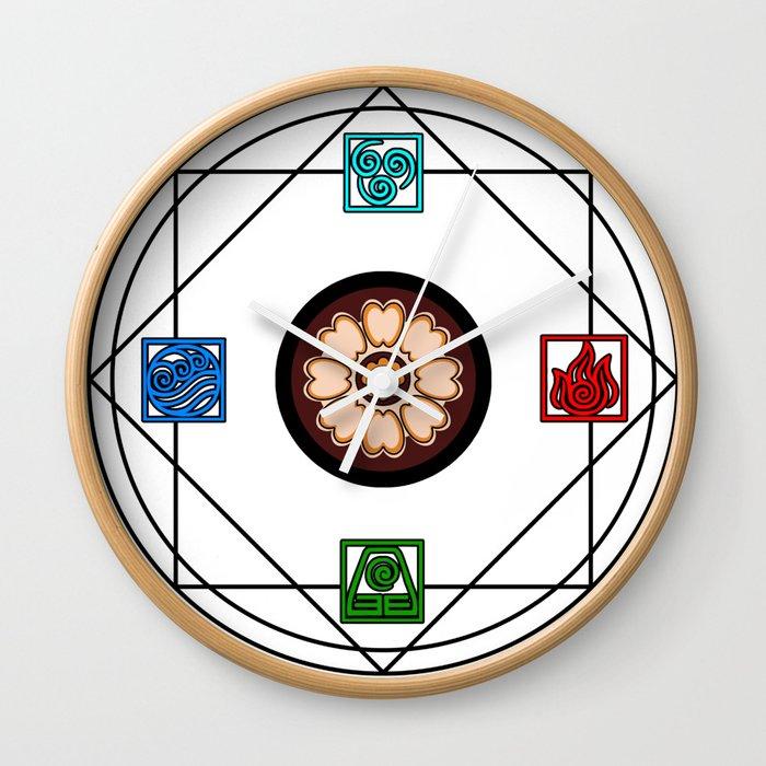 Elemental White Lotus Atlas Wall Clock By Petcheze Society6