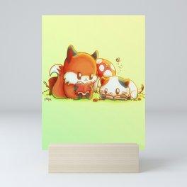 Bookish Fox and Cat Friends Mini Art Print
