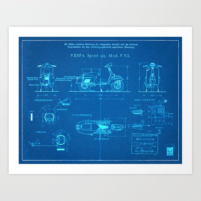 Motor scooter patent blueprint style art print by wilsongraphics motor scooter patent blueprint style art print malvernweather Images