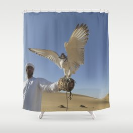 Falconer With Hooded Falcon In The Desert Shower Curtain
