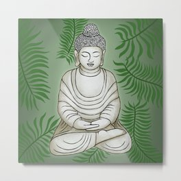 Buddha in the Garden Metal Print